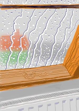 David Hockney: <em>Rain on the Studio Window</em> (2009).