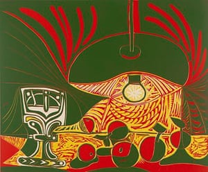 A 1962 linocut from the Still Life Under the Lamp series