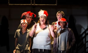Ashley McGuire as Falstaff, centre, in Henry IV