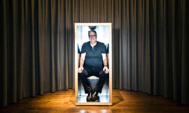 Stephen Moss sits in an orgone accumulator at the Institute of Sexology