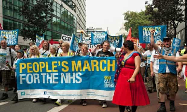 The People's March for the NHS in London, September 2014.