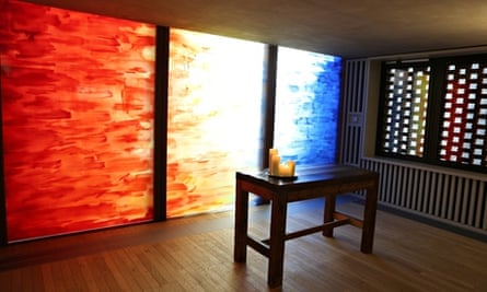 The 'Sacred Desert' window by Christopher Le Brun, in the Faith Centre of the Saw Swee Hock Student