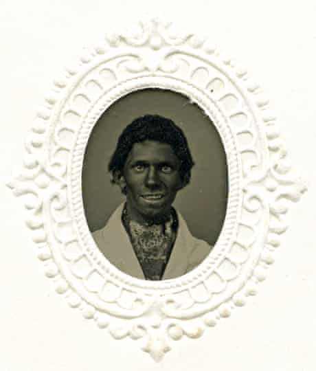 A tintype by Hathaway of an anonymous man in 'blackface', circa 1865.