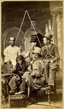 A carte de visite of an amateur theatrical society dressed as a mock lynch-mob, circa 1880. Made by