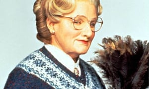 Dusting off the cardie … Robin Williams in the original Mrs Doubtfire.