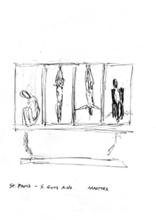 Bill Viola's sketches for St Paul's panels, Martyrs