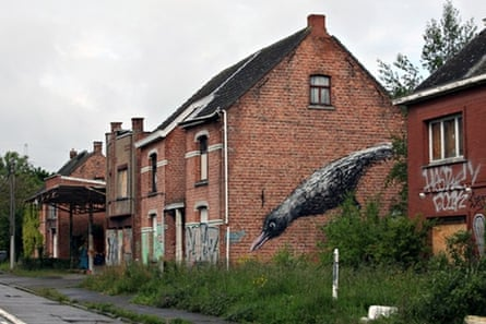 A mural on an abandoned house by the Belgian street artist ROA.