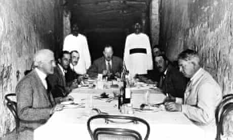 Lord Carnarvon's team eat lunch in the tomb of Ramesses XI in 1923
