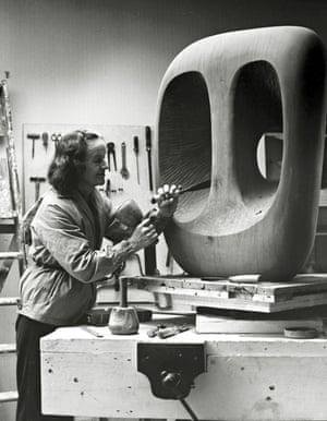 Hepworth carving Hollow Form with White Interior in 1963
