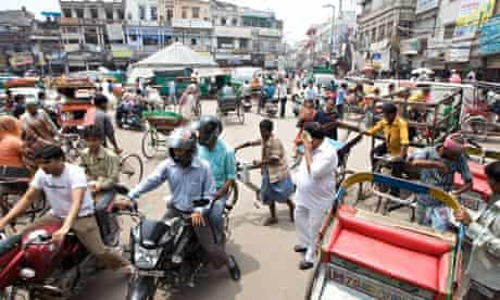 Daily life street scene in Old Delhi, India
