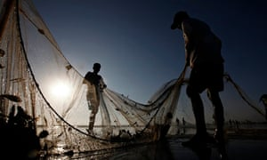 Fishermen pull their net while retrieving their catch at Karachi's Clifton beach