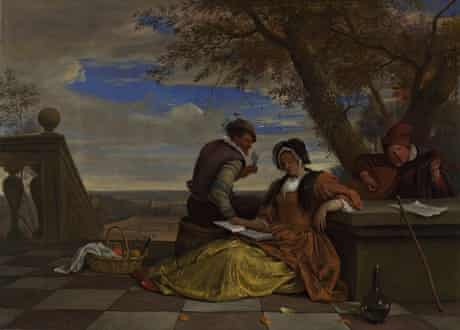 Jan Steen – Two Men and a Young Woman Making Music on a Terrace (c1670-5)