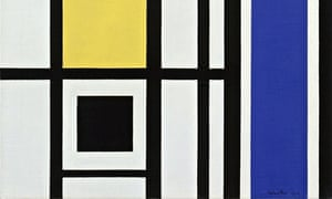 A detail from White, Black, Yellow and Blue, 1954, by Marlow Moss
