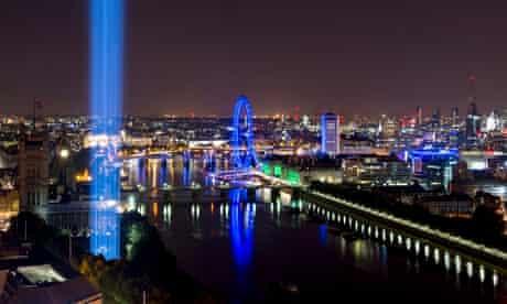 Ryoji Ikeda's spectra shoots up into the London sky