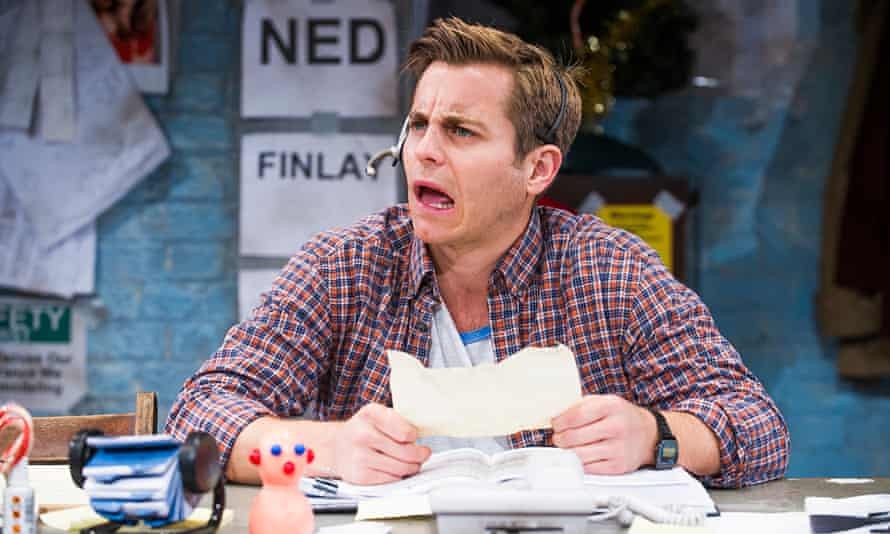 Waiting for the call … Kevin Bishop as Sam in Fully Committed at the Menier Chocolate Factory, Londo