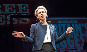 Billie Piper as Paige Britain in Richard Bean's Great Britain at the National Theatre, London.
