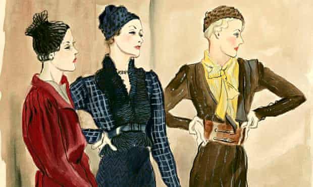 Vogue Illustration of Three Women in Schiaparelli Suits