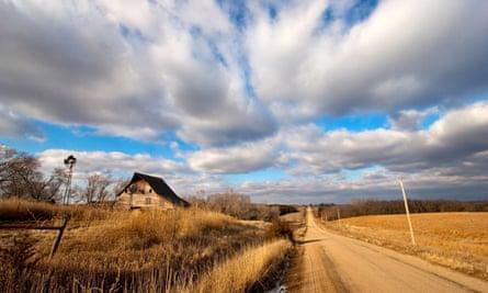A rural road in eastern Nebraska USA January 19 2009