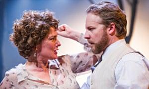 Anna Chancellor as a 'top-notch' Irina Arkadina and Samuel West as the 'lethally complacent' Boris Trigorin in The Seagull. Photograph: Tristram Kenton