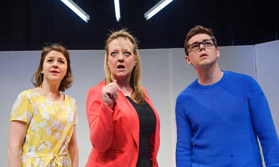 Darkly funny … Gemma Whelan (Jill), Amanda Daniels (Mrs Dee) and Sean Michael Verey (Ollie) in Radia