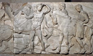 Marble relief (Block XLVII) from the North frieze of the Parthenon.