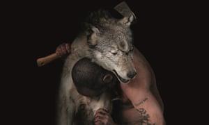 Douglas Gordon with wolf