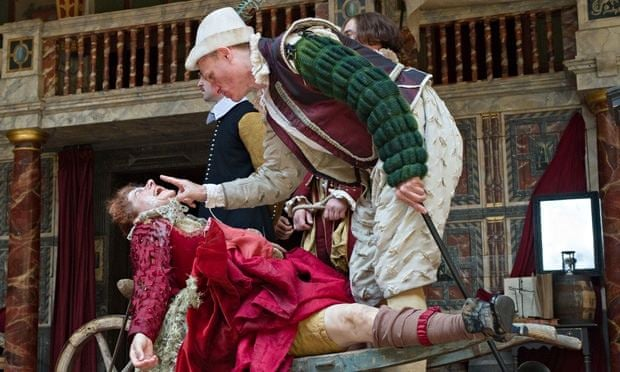 Petra Massey and Trevor Fox in Measure for Measure at the Globe. Photograph: Jane Hobson/Rex Shutterstock