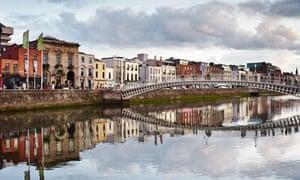 View of half penny bridge, Dublin, Republic of Ireland