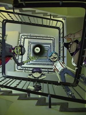 Cartoon band Gorillaz in a stairwell, by Jamie Hewlett