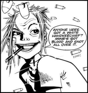 A frame from cult cartoon strip Tank Girl, where tank girl asks for a handkerchief