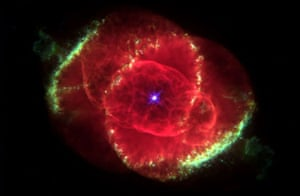 Hubble Space Telescope image shows one of the most complex planetary nebulae ever seen, NGC 6543, nicknamed the 'Cat's Eye Nebula'.