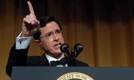 Comedian Stephen Colbert entertains guests, including George W Bush, at the White House Correspondents' Dinner