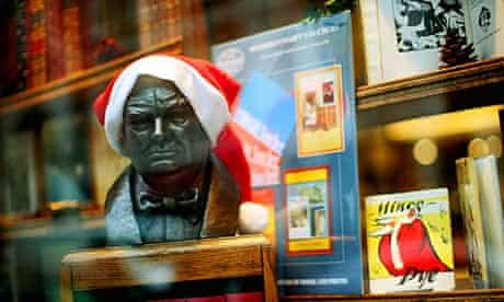 Christmas bookshop window display