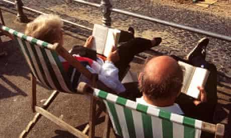 Reading on deckchairs