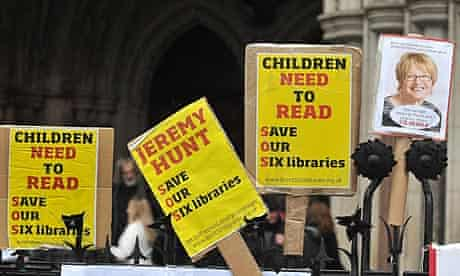 Library campaigners' placards