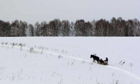 A horse-drawn sleigh in Siberia