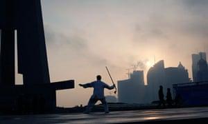 Martial artist practises in Shanghai