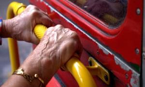 Elderly bus passenger