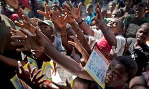 Books handout in Haiti