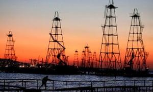 Oil derricks on the Caspian Sea