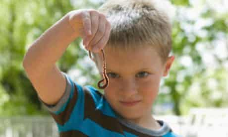 Boy looking at worm