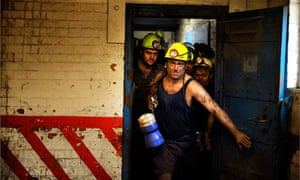 Coal miners at Daw Mill Colliery in Warwickshire