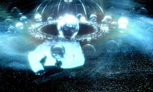 Spheres floating in space – a still from the film 'Icarus at the Edge of Time'