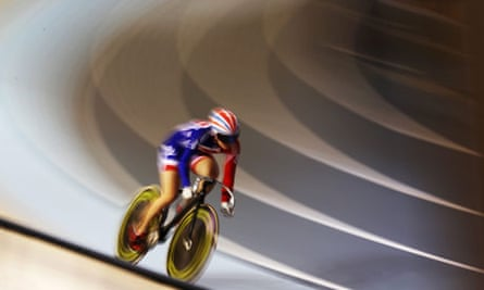 A cyclist on a racing track
