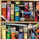 An illustration of a bookshelf by Colin Thompson