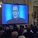 Harold Pinter delivering his Nobel lecture via video to the Swedish Academy in Stockholm