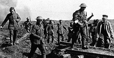 Soldiers in the trenches in the first world war
