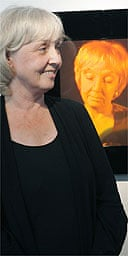 Anne Fine at the unveiling of her holographic portrait