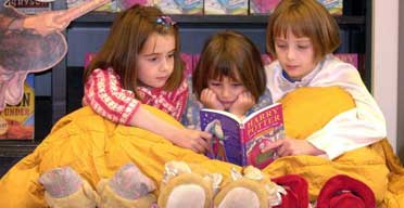 Children wait for the next Harry Potter in Waterstone's