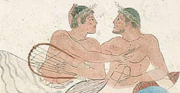 Detail of men drinking and embracing from a tomb painting from Paestrum